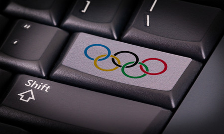 olympic symbol: Symbol on button keyboard, olympic rings om white button