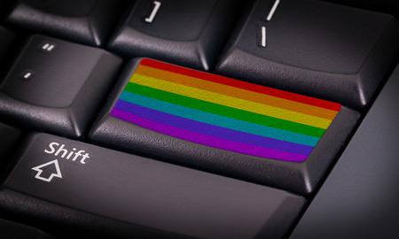 rainbow flag: Symbol on button keyboard, rainbow flag button