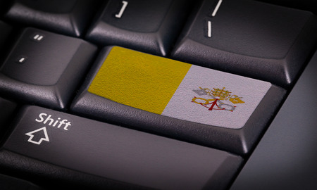 vatican city: Flag on button keyboard, flag of Vatican City