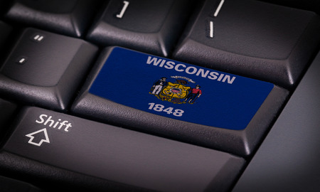 wisconsin flag: Flag on button keyboard, flag of Wisconsin