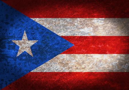bandera de puerto rico: Vieja muestra de metal oxidado con una bandera - Puerto Rico