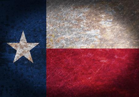 Vieux signe de métal rouillé avec un drapeau - Texas Banque d'images
