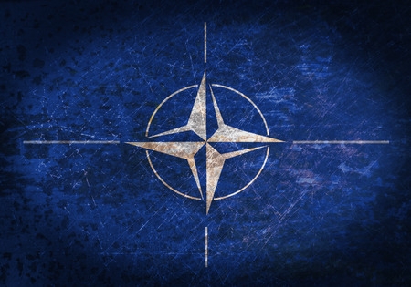 north atlantic treaty organization: Old rusty metal sign with a flag - NATO