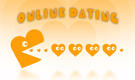 pacman: Concept of dating - big Pacman heart hunting small hearts - orange Stock Photo