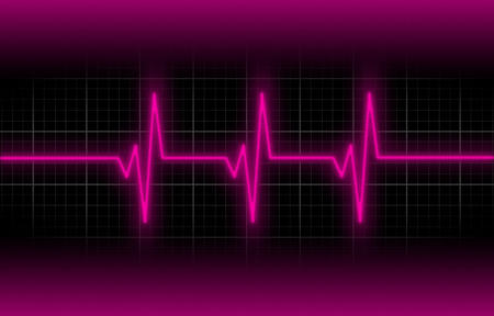 heart ekg trace: Electrocardiogram - Concept of healthcare, heartbeat shown on monitor - pink