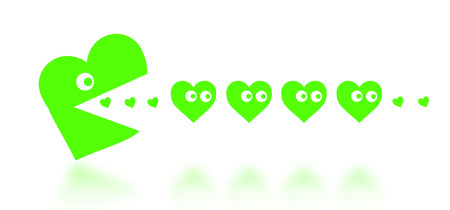 Concept of dating - big Pacman heart hunting small hearts - green photo