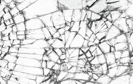 Full screen broken glass, white background horizontal photo
