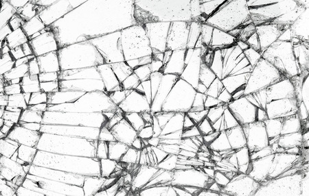 Full screen broken glass, white background horizontal