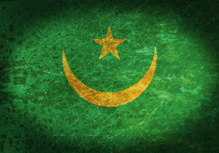 mauritania: Old rusty metal sign with a flag - Mauritania Stock Photo