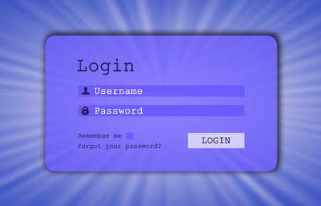 username: Login interface - username and password, starburst background, blue