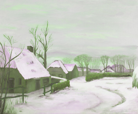 Idyllic winter landscape painting, old farms in a village, green photo