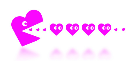 Concept of dating - big Pacman heart hunting small hearts - pink photo
