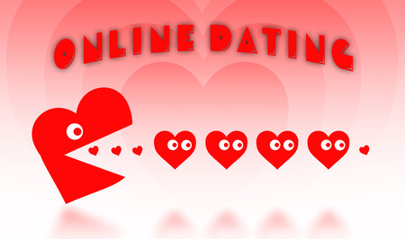 pacman: Concept of dating - big Pacman heart hunting small hearts - red