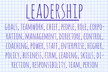 staffing: Leadership word cloud written on a piece of paper Stock Photo