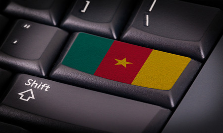 cameroon: Flag on button keyboard, flag of Cameroon Stock Photo