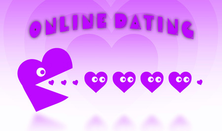 pacman: Concept of dating - big Pacman heart hunting small hearts - pink Stock Photo