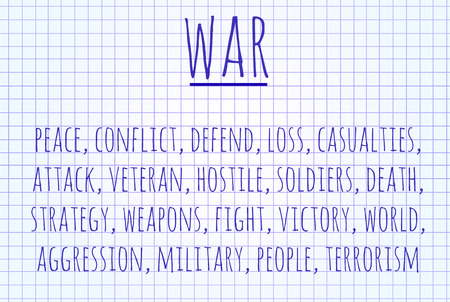 hostile: War word cloud written on a piece of paper