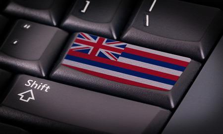Flag on button keyboard, flag of Hawaii photo