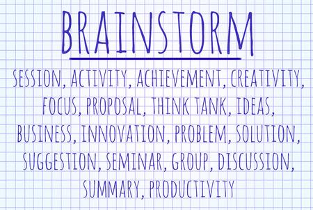 written: Brainstorm word cloud written on a piece of paper