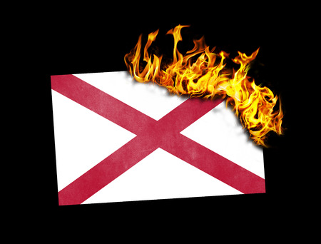 alabama flag: Flag burning - concept of war or crisis - Alabama