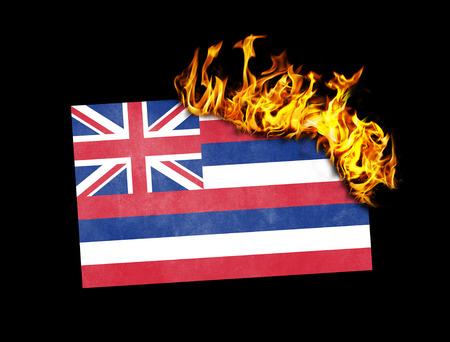 hawaii flag: Flag burning - concept of war or crisis - Hawaii