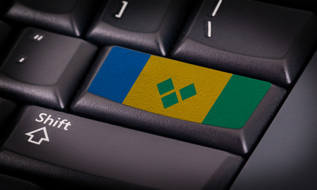 grenadines: Flag on button keyboard, flag of Saint Vincent and the Grenadines