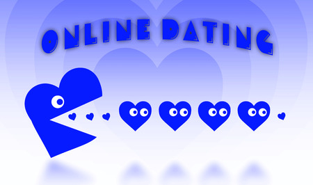 pacman: Concept of dating - big Pacman heart hunting small hearts - blue