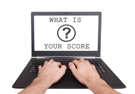 Man working on laptop, what is your score, isolated photo