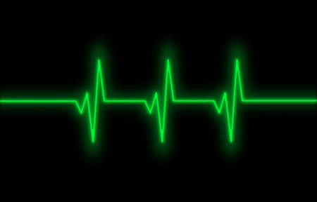 sine wave: Electrocardiogram - Concept of healthcare, heartbeat shown on monitor - green Stock Photo