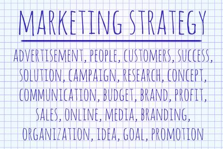 branded product: Marketing strategy word cloud written on a piece of paper