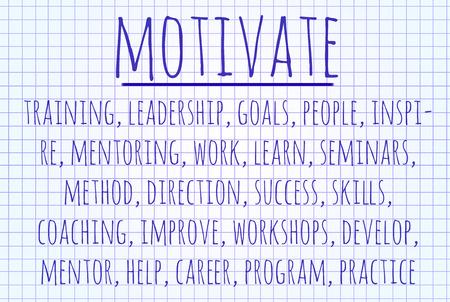 mentors: Motivate word cloud written on a piece of paper