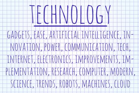 Technology word cloud written on a piece of paper photo