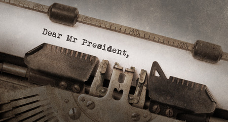 mr: Vintage typewriter, old rusty and used, dear Mr President Stock Photo