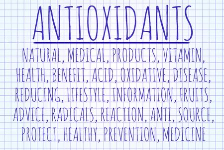 oxidative: Antioxidants  word cloud written on a piece of paper