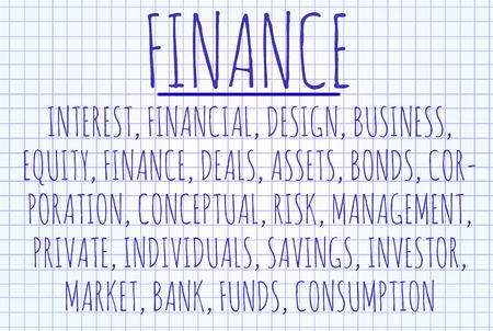 interst: Finance word cloud written on a piece of paper