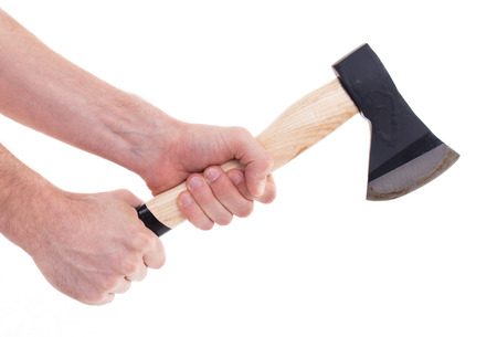 steel head: Hand holding a modern axe, isolated on white Stock Photo