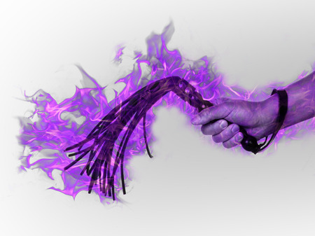 Black leather flogging whip in the hands of a ghost - purple photo
