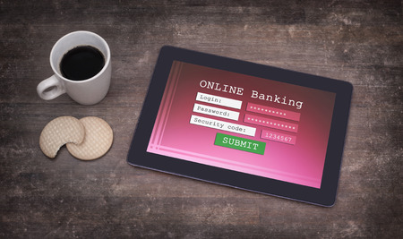 security code: Online banking on a tablet - login, password and security code