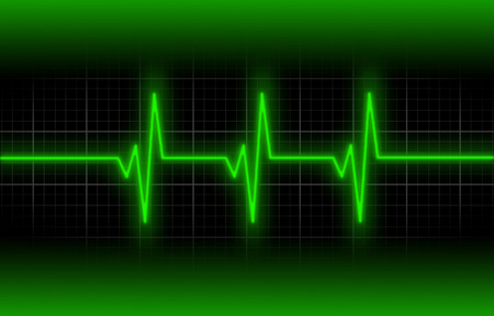 heart ecg trace: Electrocardiogram - Concept of healthcare, heartbeat shown on monitor - green Stock Photo