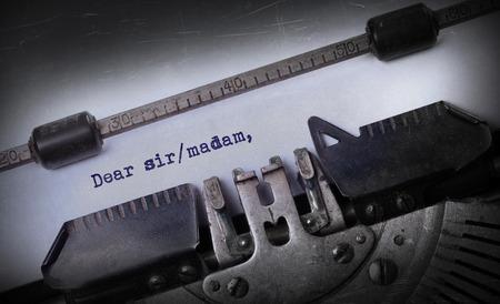 Vintage inscription made by old typewriter, Dear sirmadam