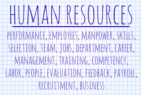 Human resources word cloud written on a piece of paper photo