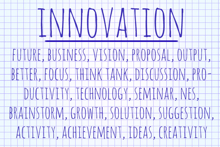 innovation word: Innovation word cloud written on a piece of paper Stock Photo