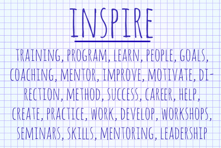 inspire: Inspire word cloud written on a piece of paper Stock Photo