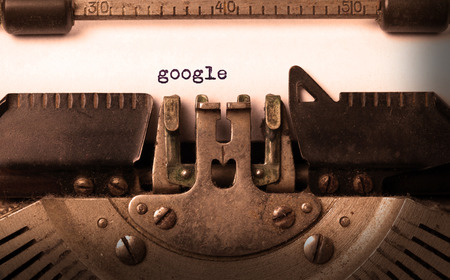 Vintage inscription made by old typewriter, google Stock Photo