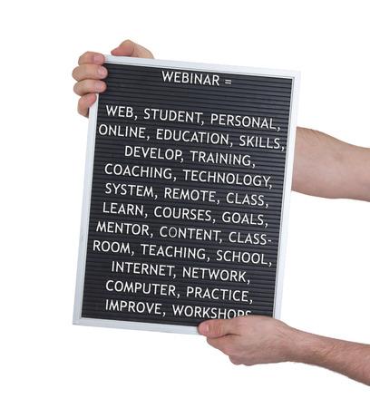elearn: Webinar concept in plastic letters on very old menu board, vintage look