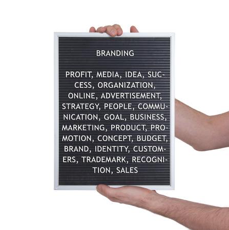 branded product: Branding concept in plastic letters on very old menu board, vintage look