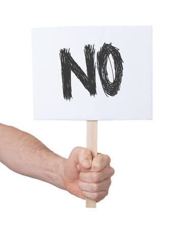 persepective: Hand holding sign, isolated on white - No Stock Photo