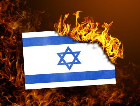 israel war: Flag burning - concept of war or crisis - Israel