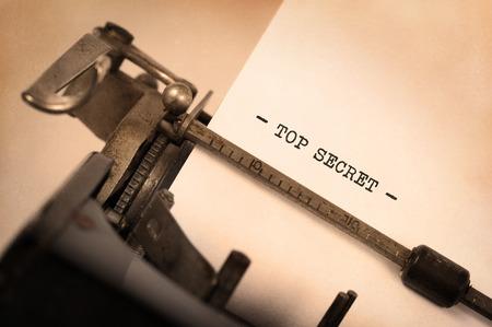 Vintage inscription made by old typewriter, Top secret