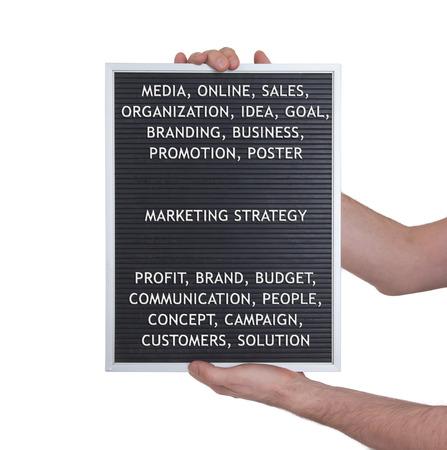 vintage look: Marketing strategy concept in plastic letters on very old menu board, vintage look